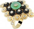 BOUTON D'OR RING, YELLOW GOLD, ONYX, CHRYSOPRASE AND DIAMONDS