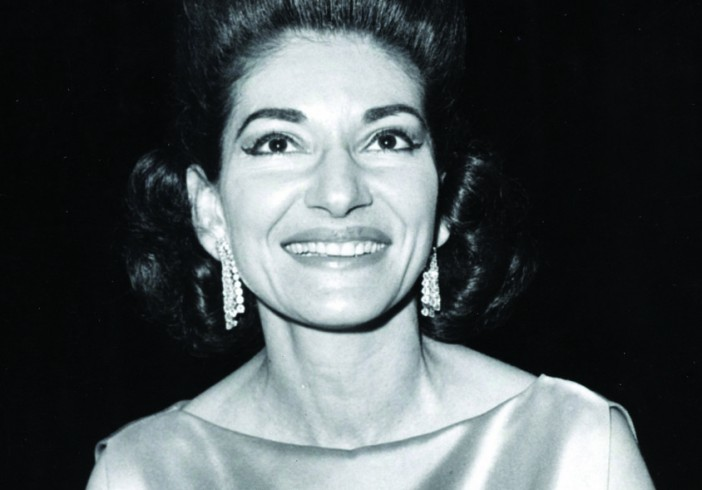 Opera singer Maria Callas on stage after a performance