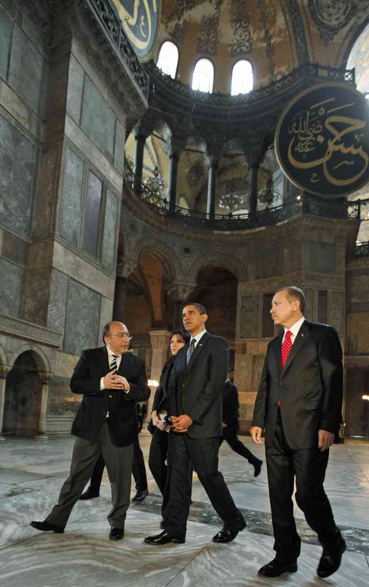 President Barack Obama is accompanied by Turkish Prime Minister Recep Tayyip Erdogan, right, as he visits Hagia Sophia in Istanbul, Turkey, Tuesday, April 7, 2009. (AP Photo/Charles Dharapak)